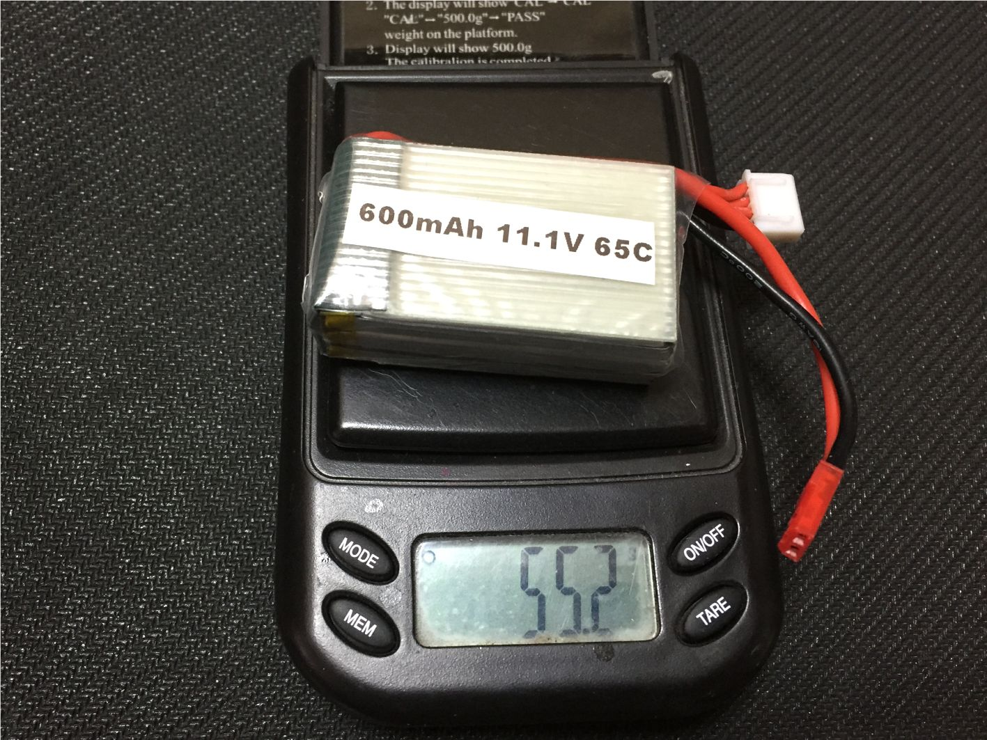 3S600mAh 65C 7.4V Lipo Battery (JST)