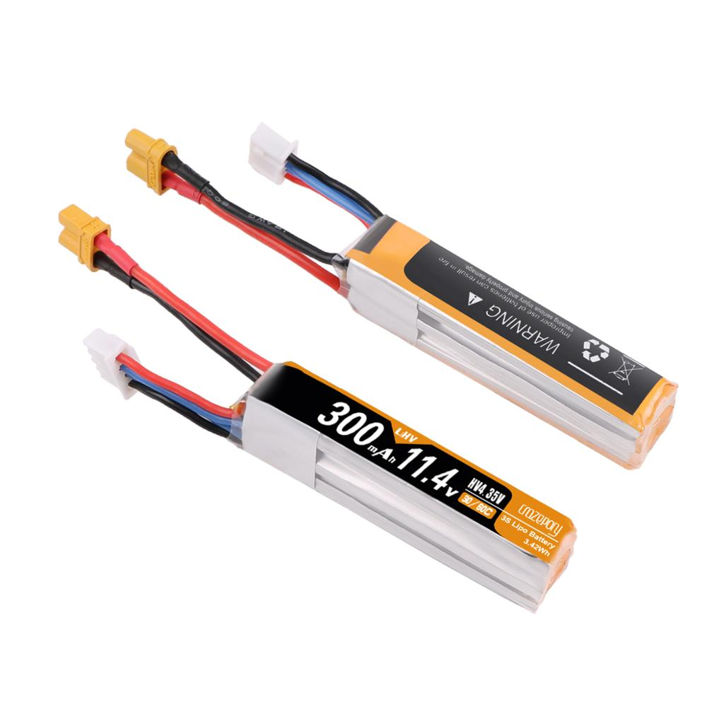Crazepony 300mAh 11.4V 30C HV LiPo Battery Pack Long with XT30 (