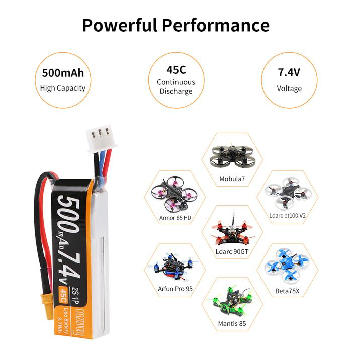 Crazepony 500mAh 7.4V 45C LiPo Battery Pack with XT30 (2pcs)