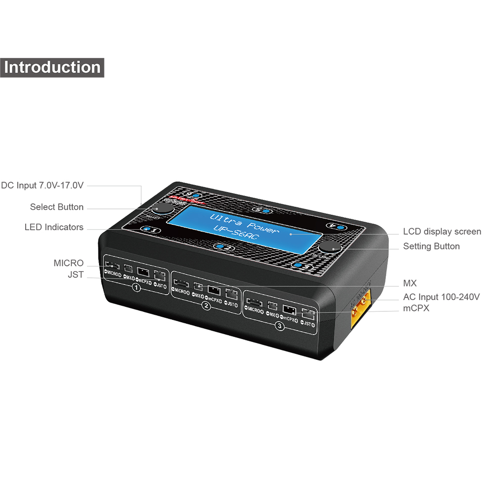 Ultra Power UP-S6AC 6x4.35W 1S AC/DC LiPO/LiHV Battery Charger