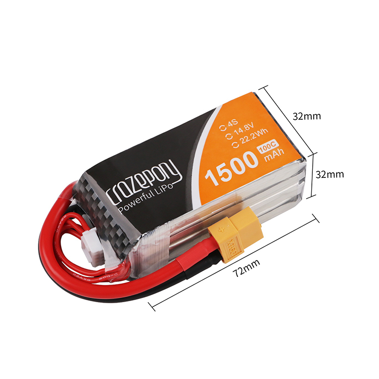 Crazepony 1500mAh 100C 14.8v lipo battery pack XT60 (2pcs) - ウインドウを閉じる