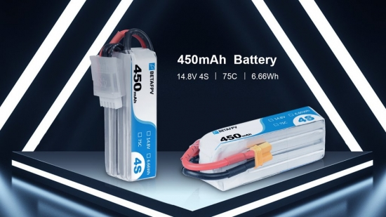 Beta FPV 450mAh 4S 75C Lipo Battery(XT30) 2pcs