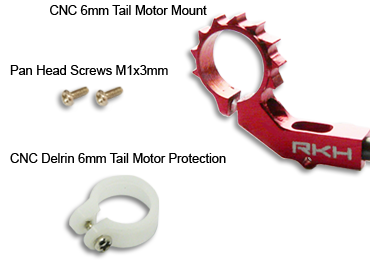 CNC Tail Motor Mount + Delrin Protection(Red) – Blade m