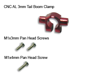 CNC Aluminum Tail Boom Clamp 3mm (Red) - Blade mCP X