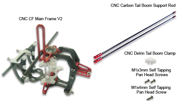 CNC CF Main Frame V2 w/Tail Boom Support (Black-Red) - Blade mCP