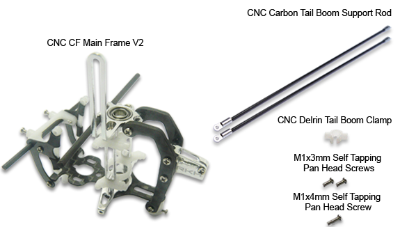 CNC CF Main Frame V2 w/Tail Boom Support (Black-Silver) - Blade