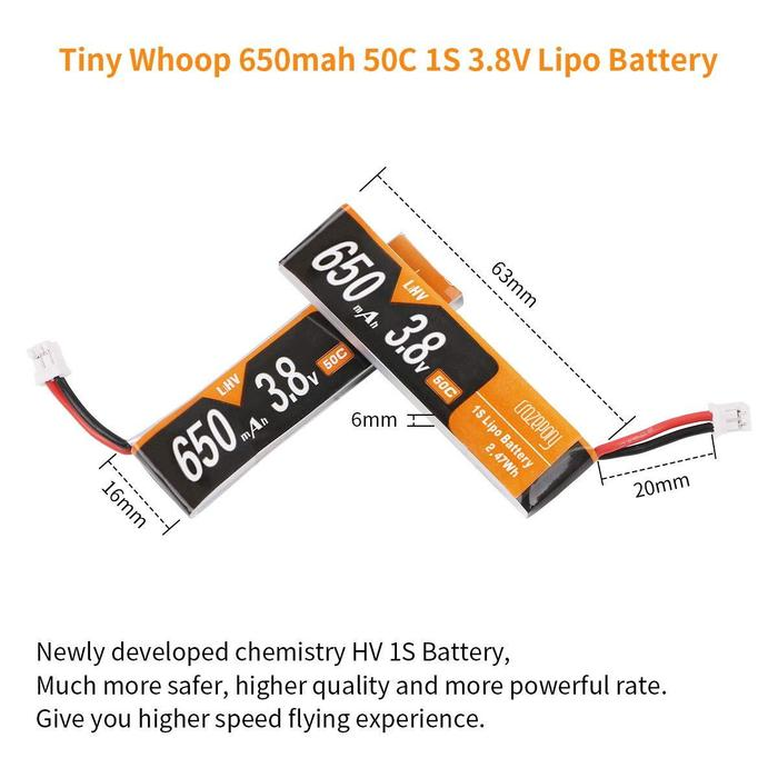 MF 650mAh 1S Lipo HV Battery 軽量タイプ
