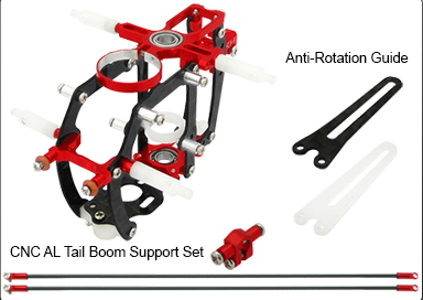 CNC AL Advanced Main Frame w/Tail Boom Support Set (Red) - Blade