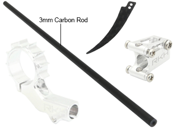 CNC 8mm Tail Motor Mount w/3mm Tail Boom Mount Set (Silver) - Bl