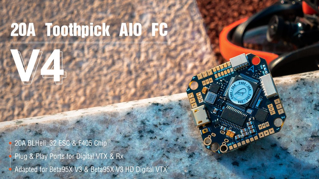 BETA FPV Toothpick F405 2-4S AIO Brushless Flight Controller 20A