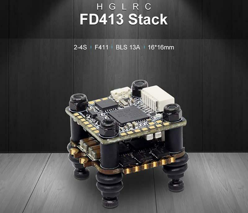 HGLRC FD413 STACK 16x16 2-4S F411 Flight Controller 13A BLS 4in1