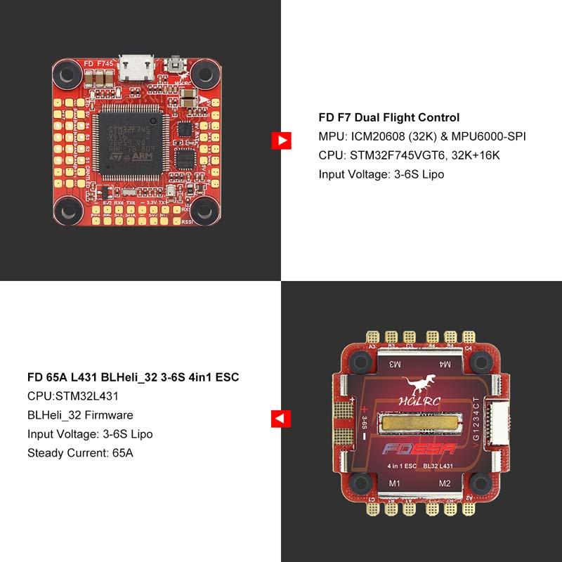 HGLRC FD765 F7 FC L431 65A Blheli 4in1 3-6AS ESC Stack