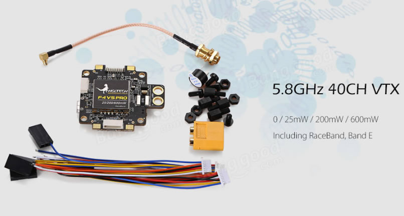 HGLRC F4 V5 PRO Flight Controller 5.8G 40CH 25-600mW Switchable