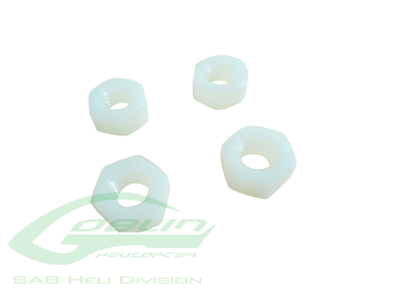 HC224-S M8 H6.5 Nylon Hex Nuts (4pcs)