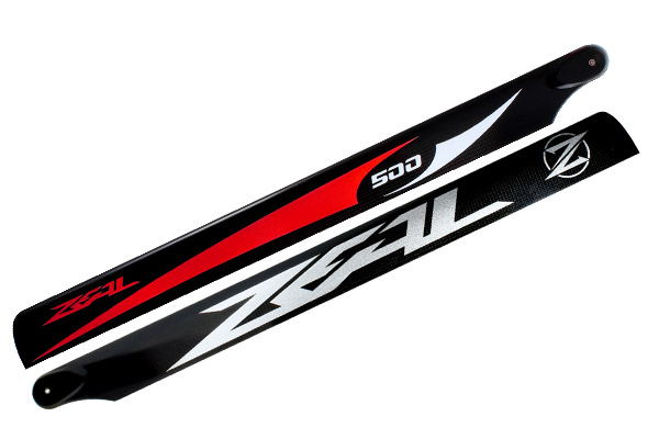 ZEAL Carbon Fiber main blades 500mm Energy (Red) - Goblin 500