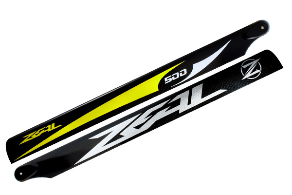 ZEAL Carbon Fiber main blades 500mm Energy (Yellow) - Goblin 500