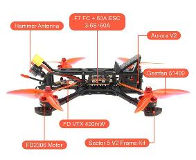 HGLRC Sector V2 HD 5 inch Racing Drone 4S with DJI AIR UNIT-PNP