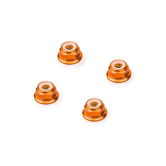 M5 Orange Aluminum Flange Lock Nut (4pcs/bag)