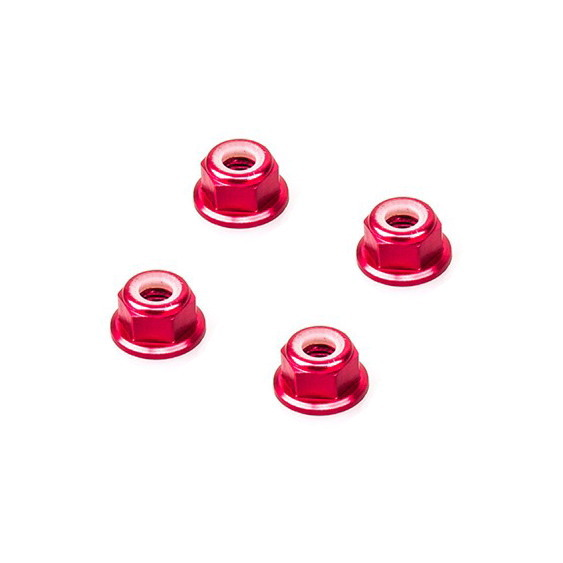 M5 Red Aluminum Flange Lock Nut (4pcs/bag)