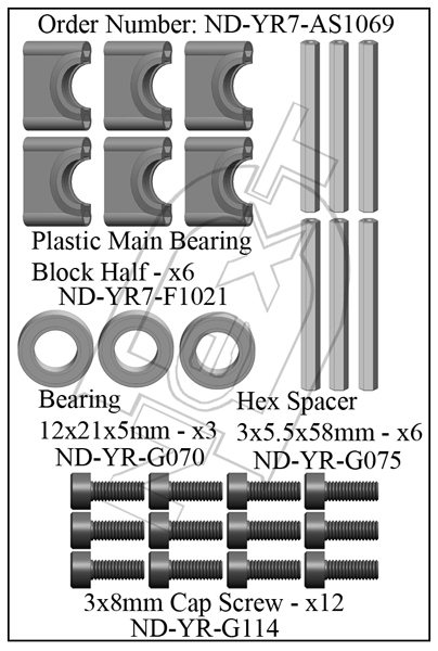 ND-YR7-AS1069 - Main Shaft Bearing Block Set R7