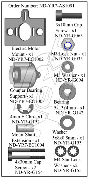 ND-YR7-AS1091 - Electric Motor Mount Set R7