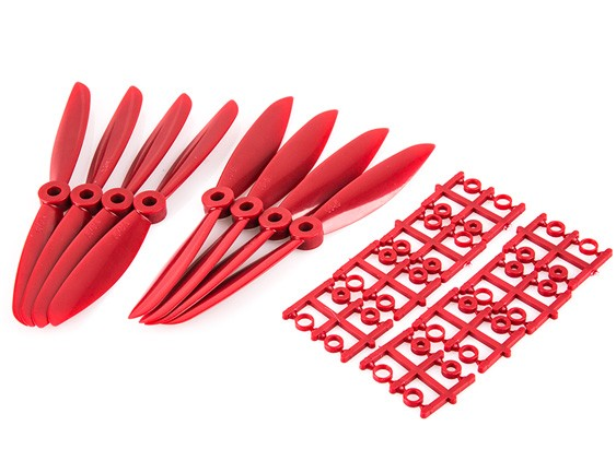 "6x4.5"" 6045 Multirotor Propellers CW CCW (Red)"